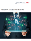 man holding screen with security outreach graphic projecting from it