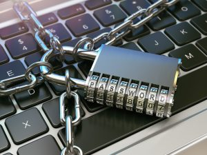 lock protecting computer security