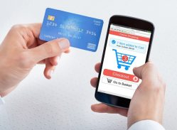 Checking out on a mobile device with a credit card